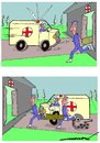 Cartoon: dire emergency (small) by kar2nist tagged ambulance,emergency,puncture,tyre,hospital
