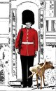 Cartoon: Dog on guard (small) by kar2nist tagged dog,guard,urinating,buckingham,palace