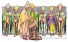 Cartoon: Il clero gaio (small) by Niessen tagged religiöse bischof priester homosexuelle unrein tunika beten