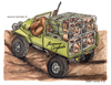 Cartoon: Maremma Cinghiala (small) by Niessen tagged hunter dog cramped evil cage offroad