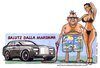 Cartoon: Saluti dalla Maremma (small) by Niessen tagged invidia,cartolina,rollsroyce,macchina,donna,estate,vacanze,envy,postcard,machinery,woman,summer,holidays,neiden,postkarte,auto,frau,sommer,urlaub