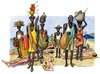 Cartoon: Vu Cumpra (small) by Niessen tagged immigration africa hunger italy beach summer black