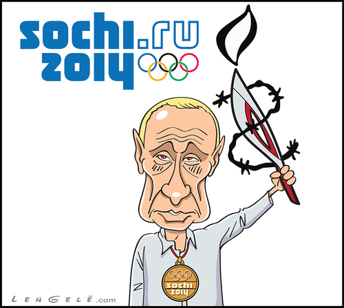 Cartoon: Sochi 2014 - Putin (medium) by Carayboo tagged medal,gold,flame,sport,olympique,jeux,poutine,lengele,ray,putin,ru,sochi,russia,game,olympic,vladimir