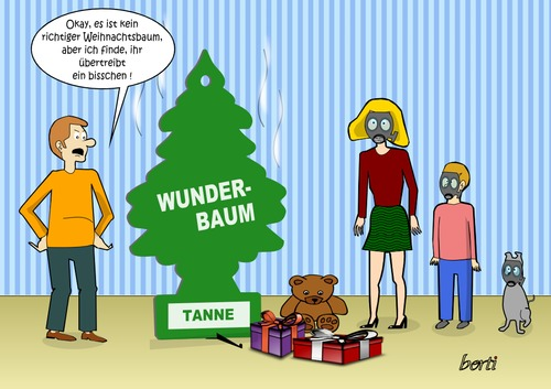 Cartoon: Duftbaum-Weihnachten (medium) by berti tagged inkscape,gasmaske,duftbaum,weihnachten