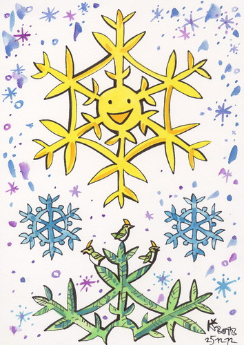 Cartoon: Christmas morning sun (medium) by Kestutis tagged weihnachten,christmas,smile,sun,snowflake,bird,nature,winter,kestutis