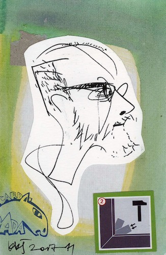 Cartoon: Dmitrij Gutov (medium) by Kestutis tagged sketch,postcard,kestutis,lithuania,dada,art,kunst
