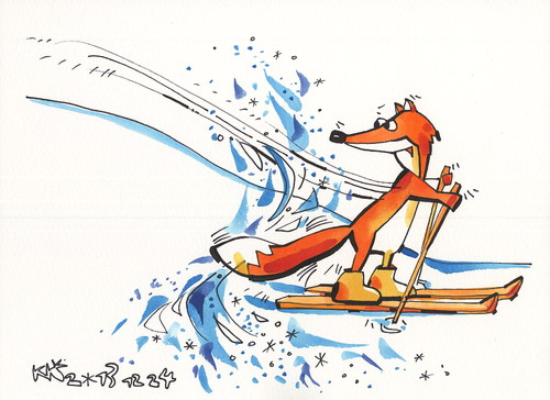 Cartoon: Foxstyle Skiing (medium) by Kestutis tagged kestutis,sports,2014,sochi,olympic,nature,animal,winter,snow,skiing,fox,lithuania