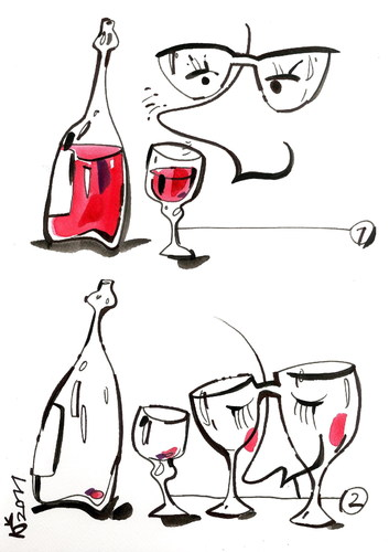 Cartoon: I HELPED GLASSES... (medium) by Kestutis tagged glasses,glass,cup,wine