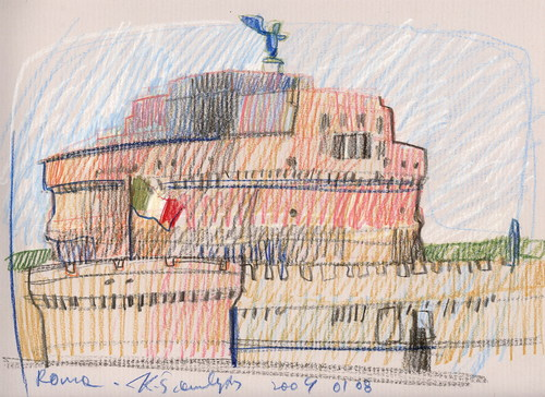 Cartoon: ITALY. ROME. SANT ANGELO (medium) by Kestutis tagged sketch,watercolor