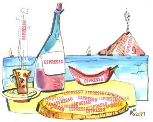 Cartoon: pizza - espresso (medium) by Kestutis tagged kestutis,wine,summer,travel,sea,coffe,pizza,italy,pizzapitch