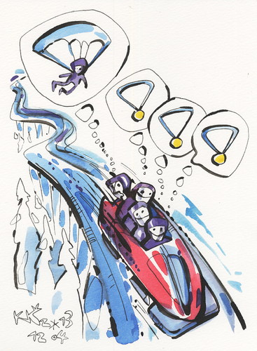 Cartoon: Winter Olympic. Bobsleigh (medium) by Kestutis tagged bobsleigh,winter,olympic,sochi,2014,sports,medals,parachute,kestutis,lithuania