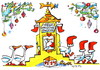 Cartoon: Geese pace up to Santa Claus (small) by Kestutis tagged geese,santa,claus,winter,christmas,weihnachten,stockings,kestutis,lithuania,adventure