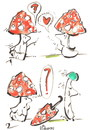 Cartoon: LOVE STORY (small) by Kestutis tagged love umbrella mushrooms pilz fliegenpilz forest wald sexuality accident incident
