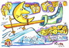 Cartoon: Moon rushing to Santa Claus (small) by Kestutis tagged moon,santa,claus,mond,ski,stars,sterne,kestutis,lithuania,christmas,weihnachten,winter