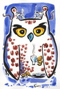Cartoon: NIGHT OWL - COFFEE OWL (small) by Kestutis tagged peace,frieden,coffee,eule,owl,maus,night,happy,new,year