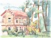 Cartoon: Old wooden villa (small) by Kestutis tagged watercolor sketch kestutis lithuania summer