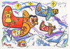Cartoon: Owls flying to Santa Claus (small) by Kestutis tagged owl,santa,claus,nature,bird,winter,christmas,weihnachten,kestutis,maus,stars,night,nacht