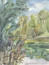 Cartoon: Summer etudes. Overgrown lake (small) by Kestutis tagged summer,etude,lake,kestutis,lithuania,sketch,watercolor