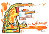Cartoon: WELCOME! (small) by Kestutis tagged welcome food beware crocodile brot bread salz salt alcohol