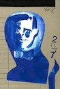 Cartoon: Yves Klein (small) by Kestutis tagged yves,klein,art,kunst,dada,blue,postcard,kestutis,lithuania