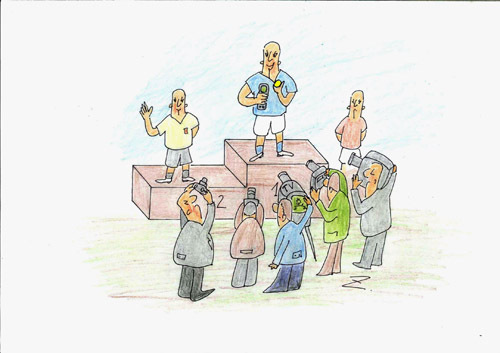 Cartoon: winner-selfi (medium) by Zoran tagged victory,winner,sport,selfi