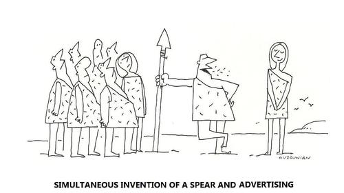 Cartoon: advertising and stuff (medium) by ouzounian tagged advertising,spears,inventions,cave,men
