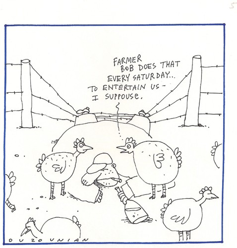 Cartoon: chickens and stuff (medium) by ouzounian tagged farmers,chickens,drinking,entertainment