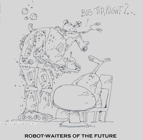 Cartoon: robot-waiters and stuff (medium) by ouzounian tagged robots,waiters,finedining,tips,pourboire,bakshish,restaurants,cafeterias,bazookas,cannons