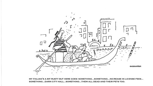 Cartoon: venice and stuff (medium) by ouzounian tagged ouzounian
