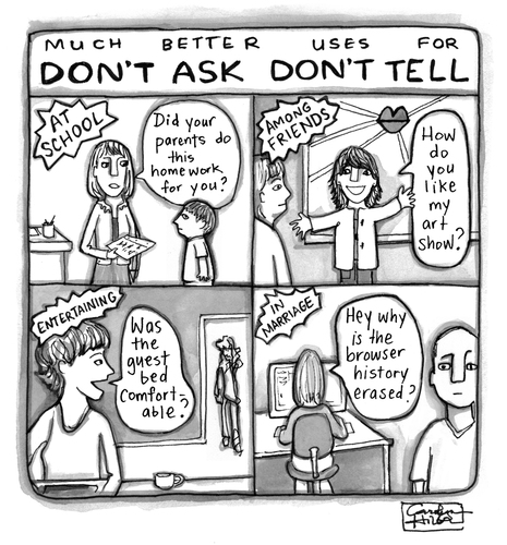 Cartoon: Dont Ask Dont Tell - Revised (medium) by a zillion dollars comics tagged stupid,laws,military,gays,media,culture,sexuality,discrimination,dont