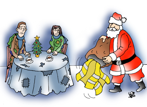 Cartoon: Christmas (medium) by Vejo tagged christmas,yellow,vests,poverty,anger,injustice