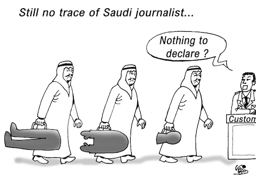 Cartoon: Missing Saudi journalist... (medium) by Vejo tagged saudi,journalist,turkisch,consulate,missing,human,rights