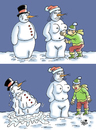 Cartoon: Snowman... (small) by Vejo tagged snow,snowman,and,woman,winter