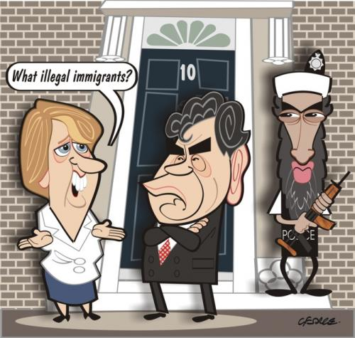 Cartoon: What Illegal Immigrant Crisis? (medium) by spot_on_george tagged gordon,brown,osama,bin,laden,imigration,satire,caricature