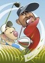 Cartoon: Tiger Woods (small) by spot_on_george tagged tiger,woods,caricature,golf