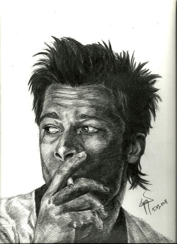 Cartoon: brad pitt (medium) by ressamgitarist tagged drawing,portrait