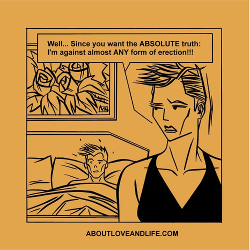 Cartoon: 139_alal The ABSOLUTE Truth (medium) by Age Morris tagged tags,marsandvenus,menandwomen,atomstyle,aboutloveandlife,victorzilverberg,agemorris,sister,relationshipshit,relationshit,bedtalk,sextalk,sextroubles,lovetoon,truth,absolute,erection,anyformof,almost