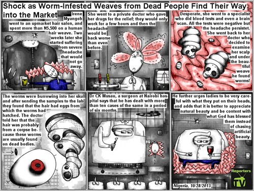 Cartoon: infested weaves (medium) by bob schroeder tagged hair,weaves,human,worms,scalp,death,headache,corpse