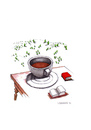 Cartoon: Kaffeepause (small) by Mehmet Karaman tagged kaffeepause,lesen,literatur