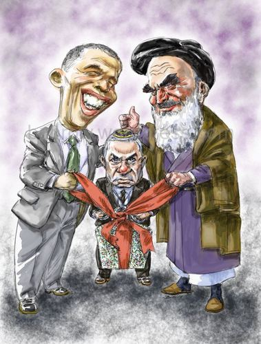 Cartoon: Obama_Khomeini_Netanyahu (medium) by Bob Row tagged obama,khomeini,netanyahu,usa,iran,israel,nuclear,treaty
