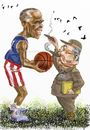 Cartoon: Obama_Castro (small) by Bob Row tagged obama,castro,cuba,usa,politics,americas,summit,caricature,cartoon,basketball,cigars