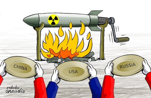 Cartoon: Hungry of weapons in cold war. (medium) by Cartoonarcadio tagged weapons,cold,war,usa,russia,china