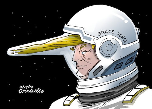 Cartoon: Space Force. (medium) by Cartoonarcadio tagged trump,army,wars,future,weapons,us,space,force