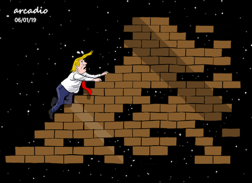 Cartoon: The precarious wall of Trump. (medium) by Cartoonarcadio tagged trump,congress,the,wall,us,president,white,house