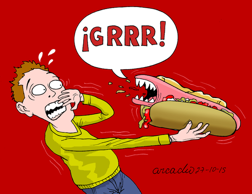 Cartoon: The scary food-processed meat. (medium) by Cartoonarcadio tagged food,scary,processed,foods,meat,who