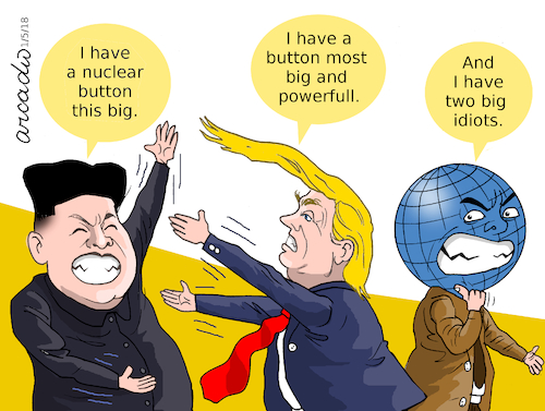 Cartoon: Two idiots. (medium) by Cartoonarcadio tagged trump,kim,jong,un,north,korea,south