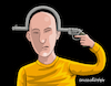 Cartoon: Illogical gun. (small) by Cartoonarcadio tagged suicide,crime,society,people
