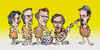 Cartoon: Pointed Sticks the band (small) by Harbord tagged pointed,sticks,vancouver,pop,punk,band,caricature