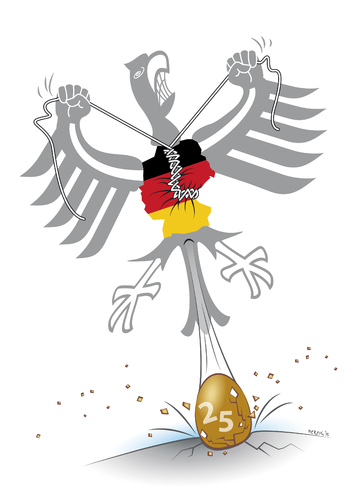 Cartoon: Deutsches Gelege (medium) by toonwolf tagged einheit,deutschland,25,jahre,jubiläum,politik,unity,germany,anniversary,years,politics
