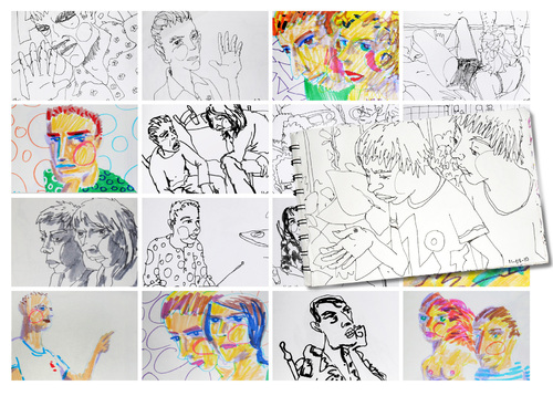 Cartoon: August sketches (medium) by PETRE tagged drawings,colour,sketches,people